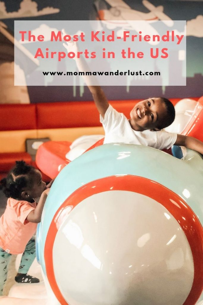 The Best Kid Friendly Airports in the US featured by top family travel blogger, Momma Wanderlust