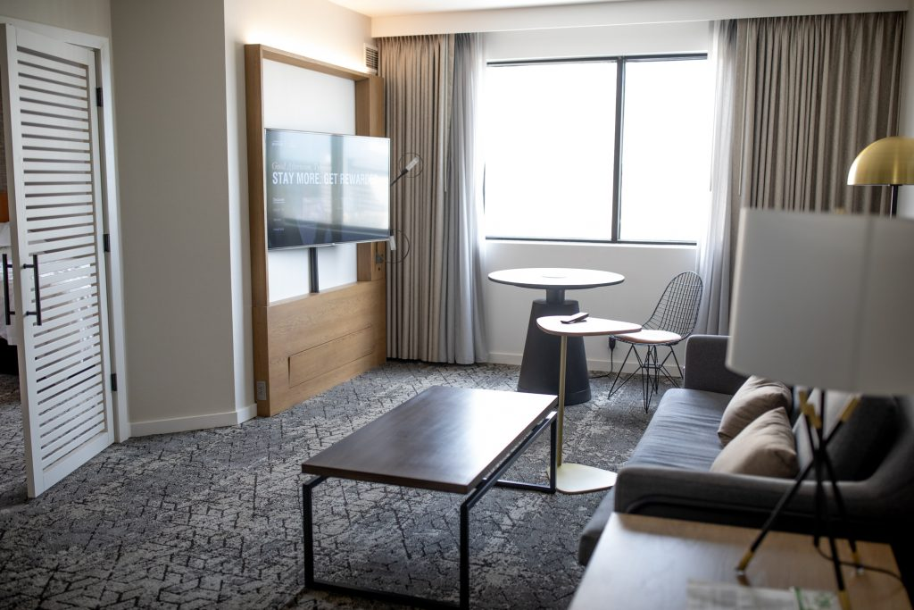 Where to Stay in Wilmington, DE: Sheraton Suites Downtown Wilmington Hotel Review featured by top BIPOC family travel blogger, Momma Wanderlust